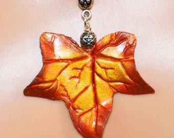 Ivy Leaf Pendant in Early Autumn Tones - Pagan Jewellery, in vibrant Autumn hues perfect for Lammas, Mabon, Samhain.  Wiccan, Witch, Druid.