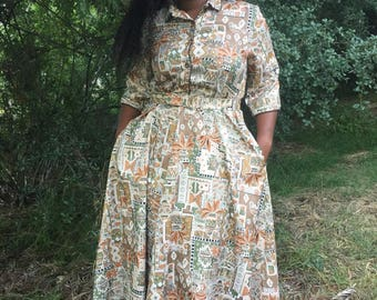 80's  Floral and Pottery Print Shirt Dress by Brownstone Studio-Southwestern Print-Large