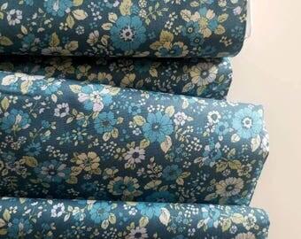 Memoire a Paris Cotton Lawn Fall 2017 - Floral (Teal Background)- Lecien - Japan, Inc