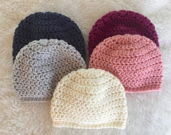 Sweet and simple newborn beanie, newborn baby hat, crocheted baby beanie, baby gift, crochet baby hat, baby shower gift, take home beanie