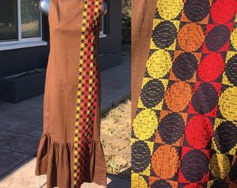 Large Bohemian Tribal Brown Midi Long Sundress Cotton Red Yellow Orange Black circle details Ethnic Medium Dress Sixties 1960s 60s Maxi