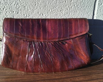 Vintage Chocolate Brown Eelskin Bag from the 1980s Convertible Shoulder to Clutch  Eel Skin Gorgeous