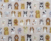 """Dog lovers unite - cute dogs on beige background - linen cotton blend lightweight canvas - made in Japan - 1/2 yard increments - 44"""" wide"""