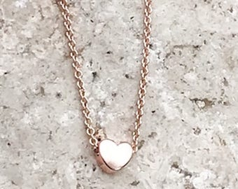 Rose Gold Heart necklace . Custom Heart necklace . Personalized Gift . Tinny Gold Necklace. Bridesmaid Gift . Heart Pendant . Tinny heart