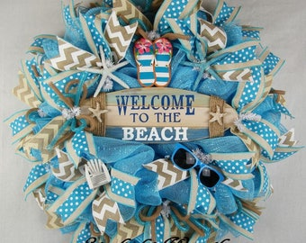 Beach Mesh Wreath, Welcome To The Beach Wreath, Summer Wreath, Welcome Wreath, Beach Decor