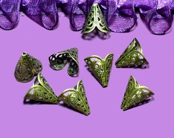 16x11mm bronze filigree cone bead caps