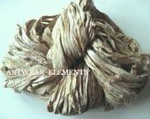 Pure Sari Silk, Vintage Tea, Per Yard, Recycled Sari Silk, Fair Trade, Textile, Ribbon, Yarn, Silk, Sari silk, ArtWear Elements, 216