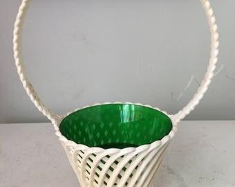 Emsa West Germany White Green Plastic Easter Basket