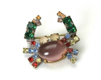 VALENTINE SALE Vintage 1940s Rare Lucite Jelly Belly Rhinestone Crab Brooch Pin