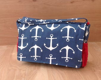 Diaper Bag- Navy Anchors/ Red