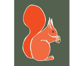 Squirrel   Print   Illustrated   Nursery   On the wall