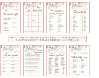 Floral Birdcage Baby Shower Game, Pink Floral Baby Game, Rustic Baby Game, Shabby Chic Baby Game, Vintage Baby Game - Printables 4 Less