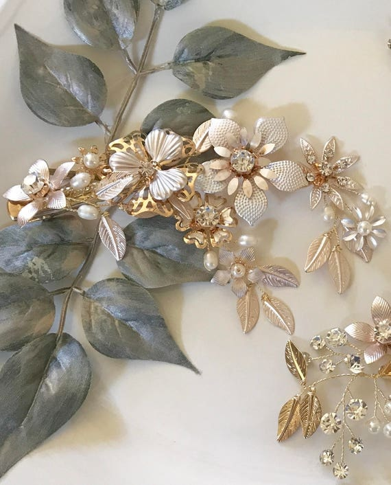 Bridal Hair Clip, Rose Gold Hair Clip,Boho Hair Accessory , Wedding Hair Vine ,Bridal Hair Piece ,Delicate Wedding Headpiece ,Wedding Hair