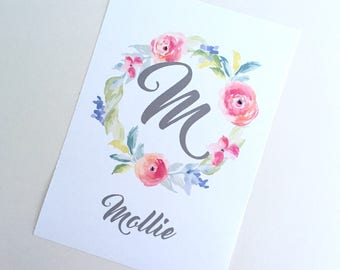 Floral Monogram Print