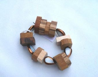 wooden bracelet and white glass