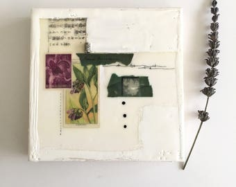 Small original encaustic collage , 6x6, ready to hang art, small art, encaustic art, stamp, ephemera, housewarming gift