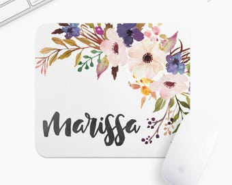 Personalized Floral Mouse Pad, Flower Mousepad, Rectangle or Round Circular, Gift mp0026