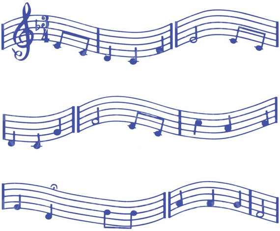 Blue Music Band Notes - Birthday Background - Designer Strips - Edible Cake Side Toppers- Decorate The Sides of Your Cake! - D22675