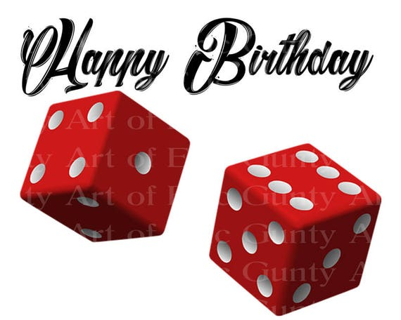 Casino Las Vegas Red Dice Happy Birthday - Edible Cake and Cupcake Topper For Birthday's and Parties! - D22909