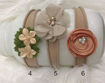 Newborn Nylon Headband, 9 different Colors, Styles, Newborn PHoto PRop, Baby Photo Prop Ivory, Brown, Pink,  Flower Headband, Ready to Ship,