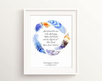 Confirmation gift etsy isaiah 6 8 ordination gift personalized confirmation gift biblical wall art scripture negle Choice Image