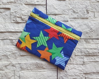 "On SALE * pouch, cotton fabric, upholstered leather clutch with zipper in ""immediate delivery"""