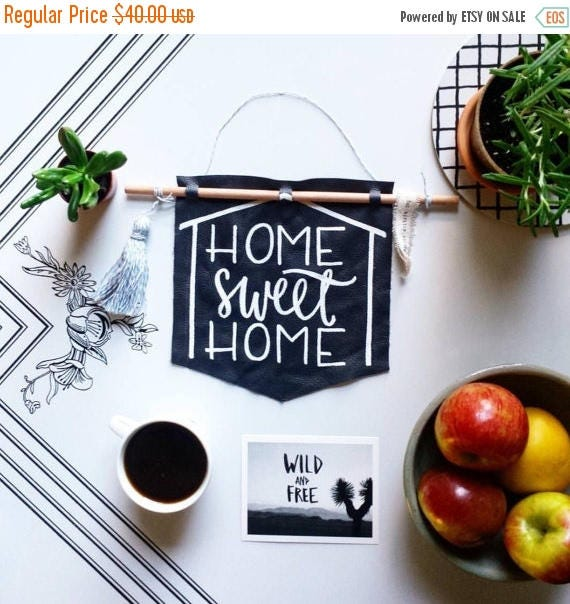 ON SALE Home sweet home wall hanging, Housewarming gift, navy leather banner, dorm decor, grad gift, hipster home decor, fiber arts