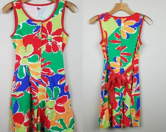 1980s tropical floral romper   red, green, blue, yellow