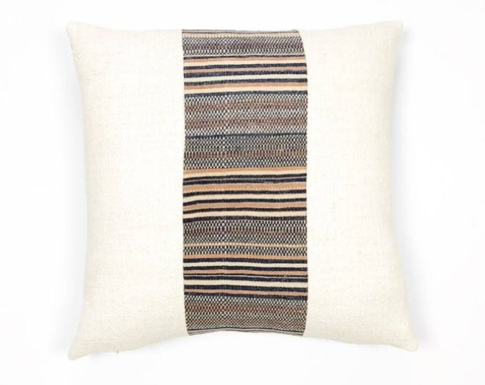 Heavyweight Antique French Linen And Vintage Woven Tribal Textile Pillow Cover 20x20