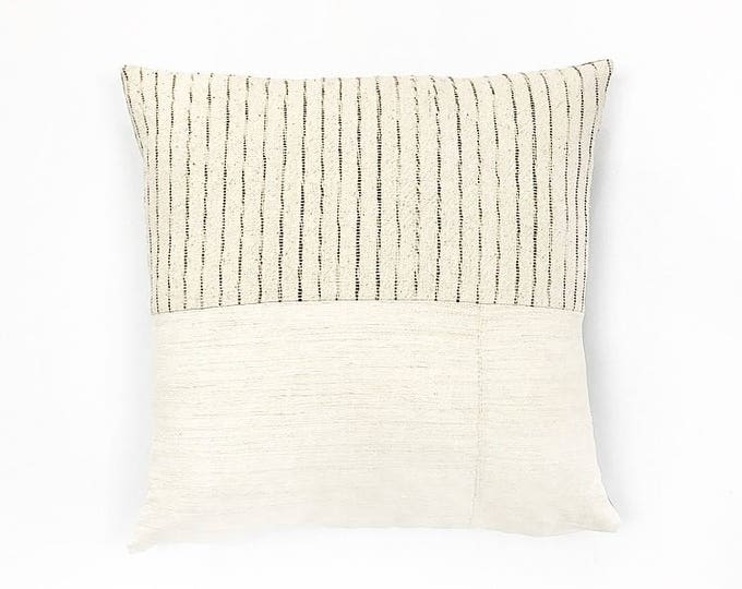 Antique French Linen and Neutral Stripe Woven Tribal Textile Pillow Cover 20x20