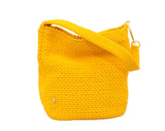 Sunny yellow rope Hobo bag/handbag hook/purse/handbag/accessories/Gift/handmade/Made in Italy