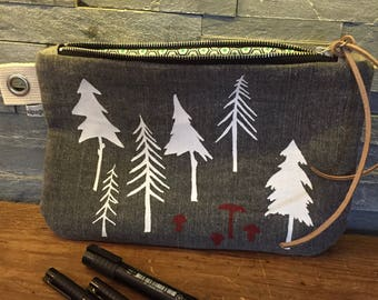Large forest and mushroom pouch
