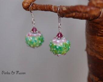 Lampwork Glass earrings * sea urchins ice * Green/Pink - loops - loops urchins glass Lampwork beads handmade silver hooks