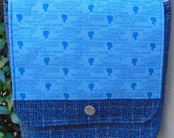Cross Body Messenger Bag Made with Blue Heather and Logo Outlander Fabric