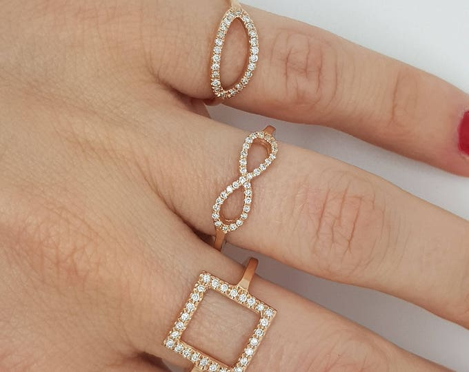 Stackable Rings-Micro pave band-Art nouveau ring-Diamond  Ring- Diamond Ring-14k rose gold ring-Fashion jewelry-Minimalist ring-For her