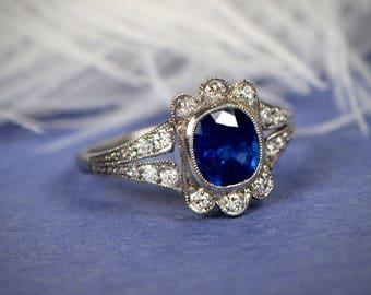 Sapphire and Diamond Platinum Floral Ring