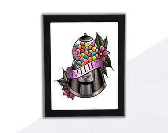 "Gumball Art Print, ""Ballin"", Punny Art"
