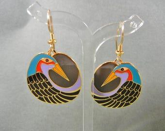 Laurel Burch Nile Bird earrings, Laurel Birch swan earrings, Laurel Burch bird earrings, Laurel Burch dangle earrings, Laurel Burch earrings