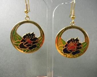 Cloisonne cutout earrings, vintage Cloisonne cutouts, cloisonne earrings, cloisonne