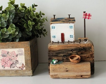 Driftwood Cottages Coastal Cottages Reclaimed Wood Harbour New rustic nautical home decor unusual gift vintage wood sailboat