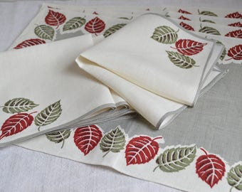 1950s Irish Linen unused placemat and napkin set