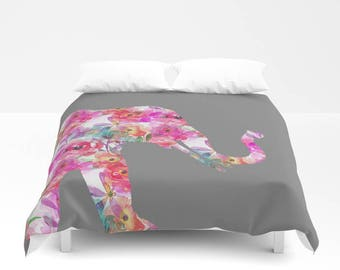 Elephant Bedding, Floral elepahnt duvet cover, Colorful duvet cover, Twin Queen King