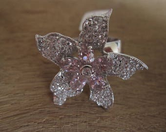 Silver Plate Pink White CZ Flower Ring 9 (2182)