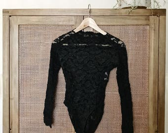 1990's Vintage Victoria Secret Black Lace Long Sleeve Bodysuit Size M