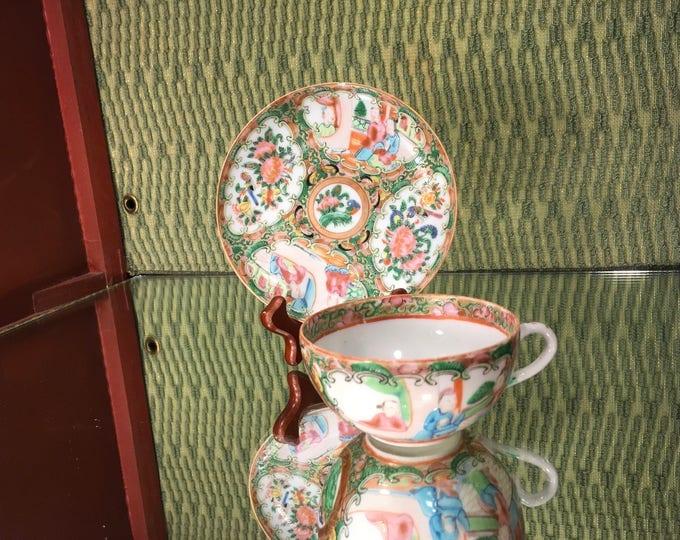 Antique 1850's Rose Medallion China Tea Cup Set