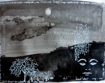 Don't forget to switch off the light. Landscape for insomniacs - ink and felt on a 24X32cm paper
