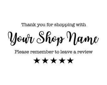 Etsy Seller Review Personalised Stamp, Thank You For Your Purchase, Please Remember To Leave A Review, Custom Business Stamp, (cts228)