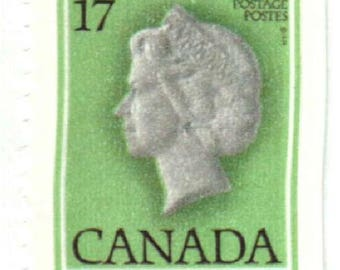 Canada Postage Stamp, Queen Elizabeth 17 cent green #789a, used, lot of 25, good shape, 1979
