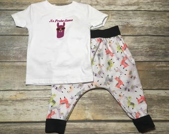 Llama pajamas, llama head, llama outfit, llama quote, llama in glasses, llama kids shirt, llama in pajama, cute llama clothes