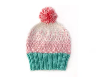 Ombre pom pom hat, Ombre hat,Knit hat with pom pom, Knit pom pom hat, pom pom hat, Knit baby hat, Knit hat for baby, Gender neutral